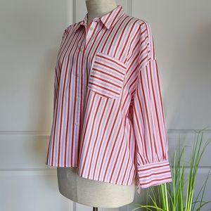 J. Crew Oversized Button Striped Pink White Red M